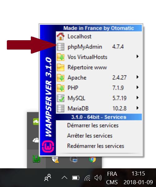 image serveur local WAMP cliquez _sur_PhpMyadmin